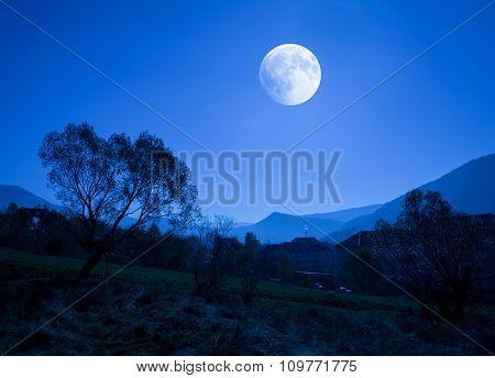 Hotel On Moonlight In Carpathian Mountains