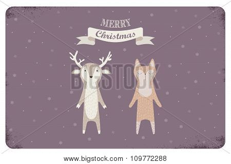 merry christmas card design with cute animals.