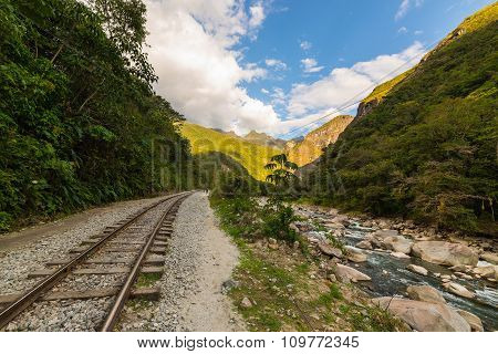Railway Track And Machu Picchu Mountains, Peru