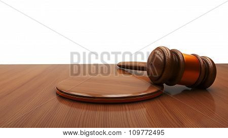 Wooden Judge Gavel And Sound Board Isolated On White Background.