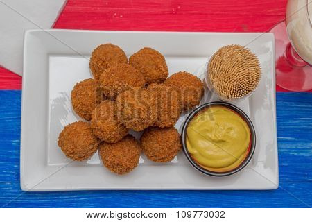 Dutch Snack Bitterballen On A Colorful Background