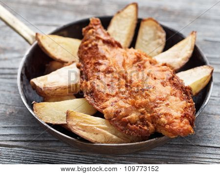 Rustic Traditional English Fish And Chips