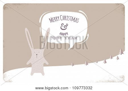 Greeting Card with Christmas Rabbit