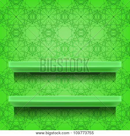 Green Shelves  on Ornamental  Background