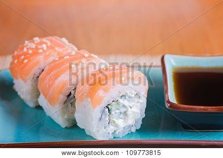 California maki sushi with fish