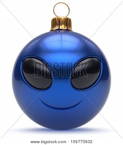 Christmas Ball Emoticon Smiley Alien Face Happy New Year