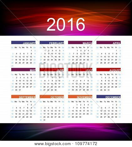 Calendar for new year