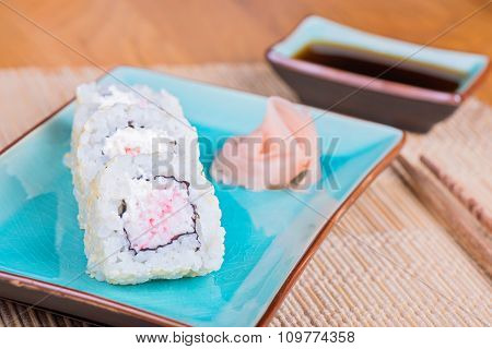 California maki sushi with crab meat on plate