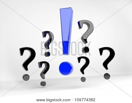 Blue Exclamation Mark Surrounded By Question Marks