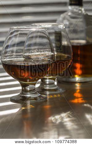 Brandy Pour Into Glasses.