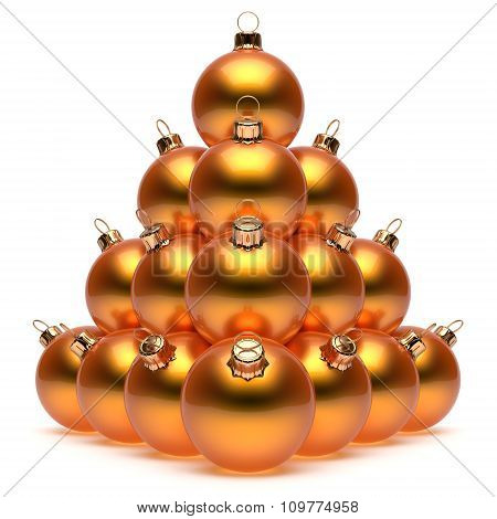 Christmas Balls Pyramid New Year's Eve Orange Baubles Group