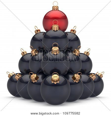 Christmas Ball Black Pyramid Leader Red On Top First Place Winning