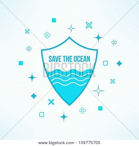 Vector save the ocean background with shield in modern flat design. Sea defence design element