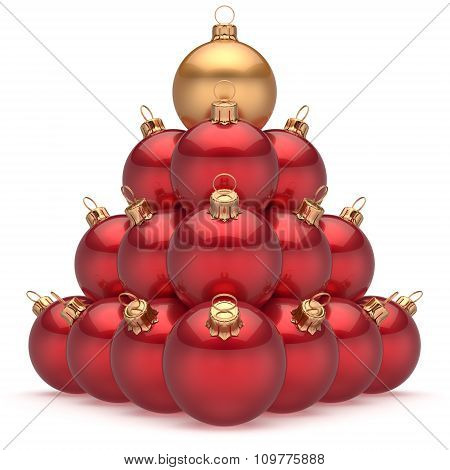 Christmas Ball Red Pyramid Leader Golden On Top First Place Win