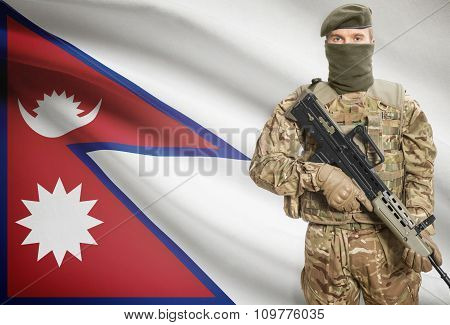 Soldier Holding Machine Gun With Flag On Background Series - Nepal