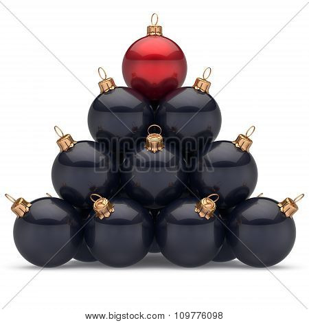 Pyramid Christmas Balls Black Leader Red On Top First Place Win