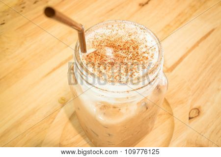 Iced Cofee Mocha Drink Serving On Wooden Table