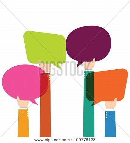 Businessman Hold Colorful Blank Speech Bubble