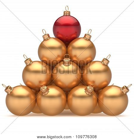 Pyramid Christmas Ball Golden Leader Red On Top First Place Win
