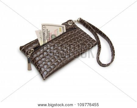 Purse With Dollars Banknote Isolated On White Background.