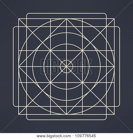 Vector geometrical background of circles and squares made in modern flat design. Geometrical emblem