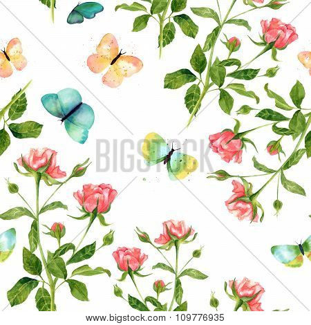 Seamless Watercolor Background Pattern With Roses And Butterflies