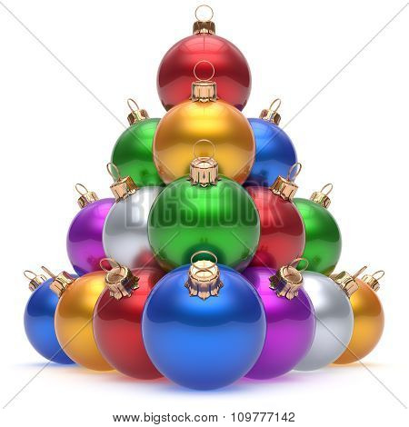 Christmas Ball Colorful Pyramid New Year's Eve Baubles Group