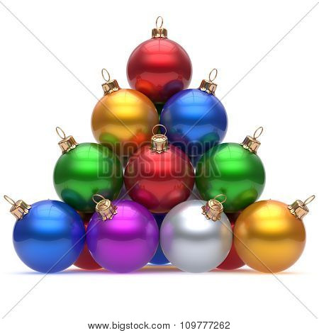 Pyramid Christmas Ball Multicolored Red On Top New Year's Eve