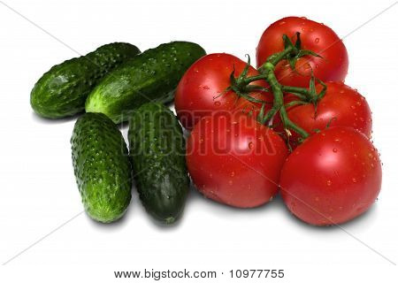 Ripe Tomatoes And Cucumbers