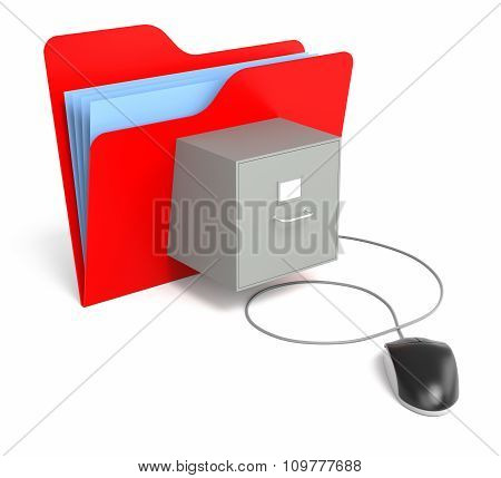 Red Folder With File Cabinet With Computer Mouse