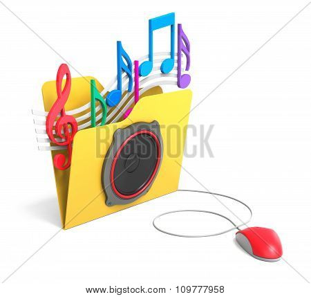 Yellow Folder With Music Notes With Computer Mouse