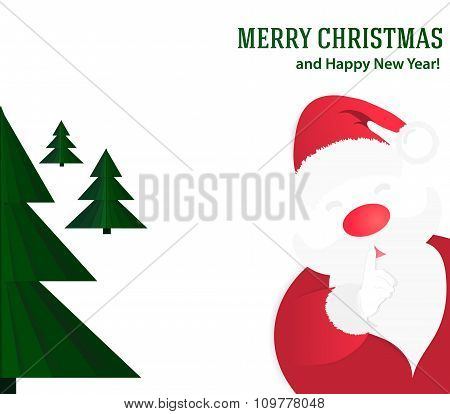 Christmas Background With Santa Claus And Green Christmas Tree.