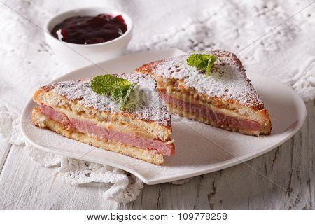 Delicious Of Monte Cristo Sandwich And Jam. Horizontal