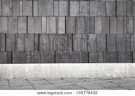 Abstract Concrete Interior With Dark Gray Wall