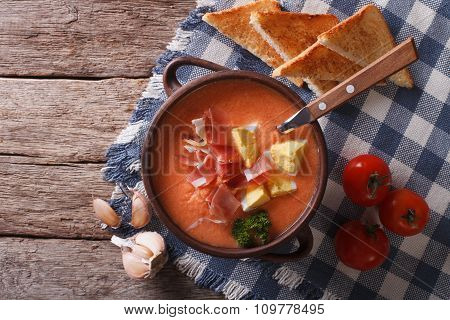 Salmorejo Soup With Ham And Eggs In A Bowl. Horizontal Top View