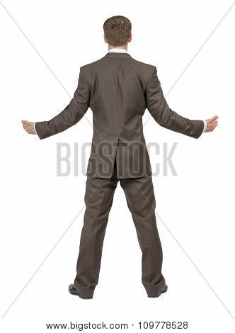 Businessman holding empty space, rear view