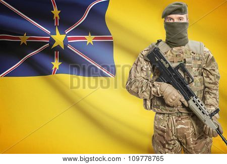 Soldier Holding Machine Gun With Flag On Background Series - Niue