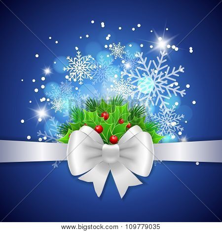 White Ribbon,  Bow And Holly Berry On Blue Background
