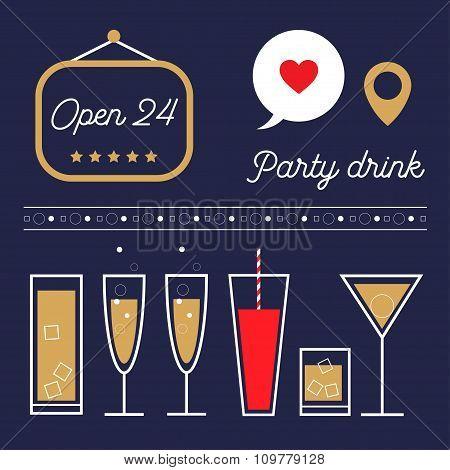 Vector drinks and cocktails illustration set