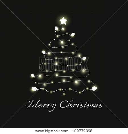 Christmas and New Year vector card with festive garland lights. Vector illustration EPS 10