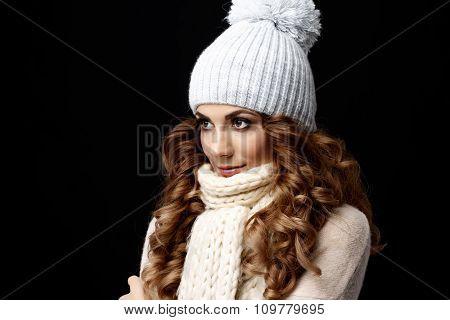 Beautiful young woman wool sweater