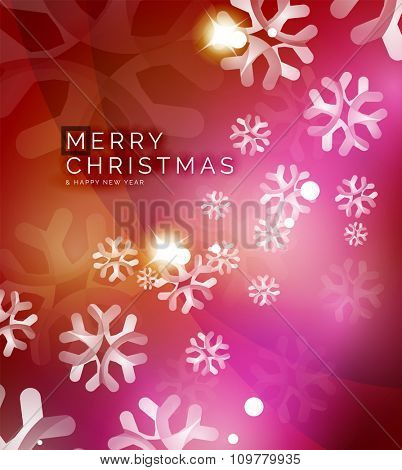 Christmas orange color abstract background with white transparent snowflakes. Holiday winter template, New Year layout