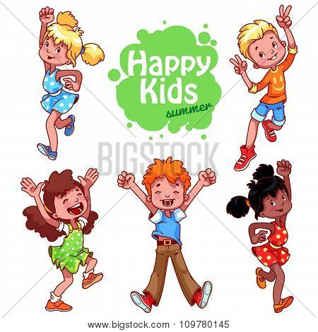 Very Happy Children On A White Background.