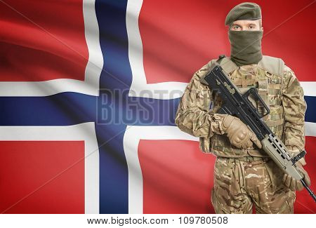 Soldier Holding Machine Gun With Flag On Background Series - Norway