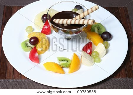 Fruit Apples, Kiwi, Bananas, Pineapples, Grapes With Syrup
