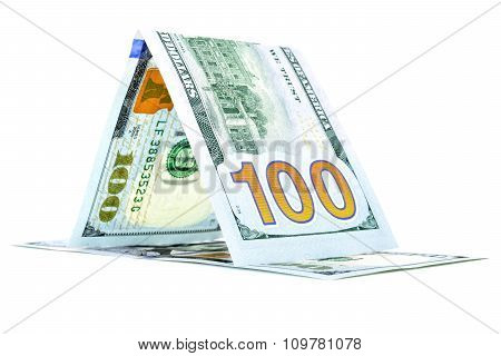 Native money kennel, dollar raft, currency cottage isolated on white