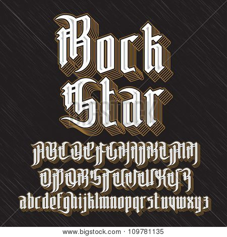 Rock Star Modern Gothic Style Font. Gothic letters with decoration elements. Vector alphabet
