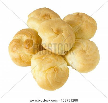 Choux Cream Filled With Whipped Cream On White Background