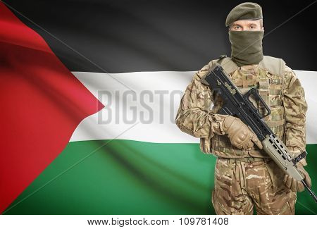 Soldier Holding Machine Gun With Flag On Background Series - Palestine