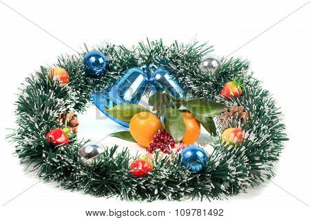 Christmas, New Year's decorations and tangerine slices